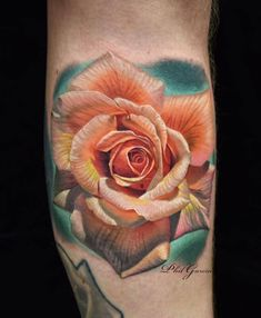 Realistic rose tattoo by Phil Garcia Tattoo Sleeve Designs, Flower Tattoo Designs, Tattoo Designs For Women, Flower Tattoos, Sleeve Tattoos, Tattoos For Women, Rose Tattoo Pictures, Picture Tattoos, Realistic Rose Drawing