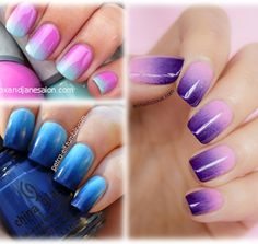 Ombre Nails. All you need is your favorite colors, clear polish, makeup sponges, and qtips. Looks great it's super easy!