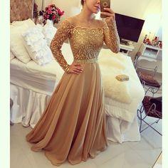 Elegant Long Sleeves gold Prom Dresses Long Evening Dresses for Women Gold Prom Dresses, Prom Dresses Long With Sleeves, Beaded Prom Dress, A Line Prom Dresses, Mermaid Prom Dresses, Prom Party Dresses, Party Gowns, Bridesmaid Dress, Dress Prom