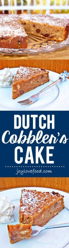Dutch Cobbler's Cake (Schoenlapperstaart) – a delicious Dutch treat made with apples, raisins and the warm spices of cinnamon, ginger and cloves.