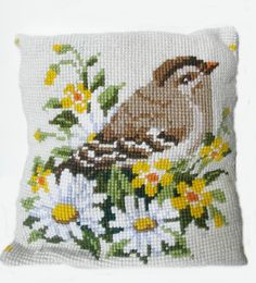 Items similar to Vintage bird cushion cover on Etsy Cross Stitch Alphabet Patterns, Cat Cross Stitches, Hand Embroidery Stitches, Cross Stitch Designs, Cross Stitch Embroidery, Embroidery Patterns, Cross Stitch Pillow, Cross Stitch Bird, Cross Stitch Flowers