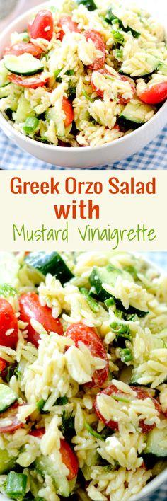 Greek Orzo Salad with Mustard Vinaigrette - Recipe Diaries