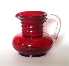 1930's Ruby Red Glass Pitcher