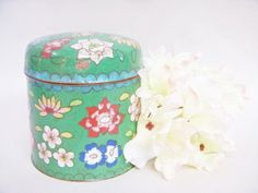 Chinese Cloissone CIGARETTE BOX CANISTER Jar by DecadesAntiques