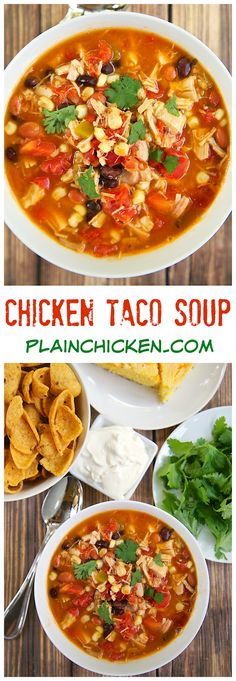 Chicken Taco Soup Recipe - Chicken, beans, corn, tomatoes, Ranch mix and taco seasoning. Can be made two different ways. On the stovetop with some rotisserie chicken or in the slow cooker with some boneless chicken breasts. Either way, it is super delicio