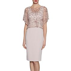 Buy Ballet Pink Gina Bacconi Crepe Dress With Beaded Over Top from our Women's Dresses range at John Lewis & Partners. Mother Of Groom Dresses, Mothers Dresses, Mother Of The Bride, Floral Midi Dress, Pink Dress, Pink Maxi, Pink Sequin, Floral Dresses, Sequin Cocktail Dress