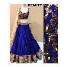 Stylish Royal Bule Color Party Wear Banglory Silk Lengha Choli
