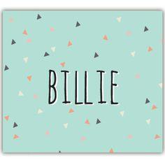 Dit is het Billie kaartje van de collectie van Bollieboom met Scandinavische look. Munt en koraal vormen de hoofdkleuren, aangevuld met kleine driehoekjes. Kleuren en lettertypes kunnen zonder meerkost worden aangepast. Van dit ontwerp kunnen geboortekaartjes gemaakt worden, maar ook ander drukwerk zoals stickers, magneten, kleine kaartjes, wikkels,... #doopsuiker #ScandinavischeStijl #geboortekaartjes
