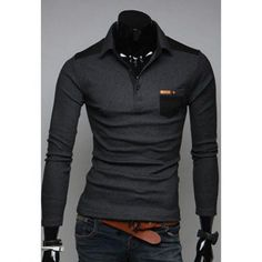 PU Leather Splicing Slimming Cotton Polo Shirt For Men