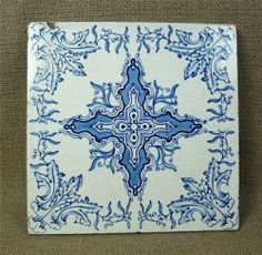 Antique BLUE & WHITE TILE - Sherwin & Cotton or Stubbs & Hodgart? - late 19th C