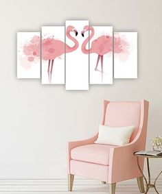 Look what I found on #zulily! Flamingos Five-Panel Wall Art Set #zulilyfinds