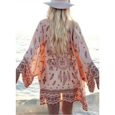 Chiffon Dream Catcher Kimono NOT Free People  Cover up with this dreamy, dream catcher kimono. Pair this with a skinny brown belt and your favorite bikini.   AVAILABLE: S, M  This item may or may not include a tag. ALL items sold from my closet are brand new, unused and directly from the manufacturer.    NO TRADES   YOU MAY OFFER ON THIS ITEM Free People Tops
