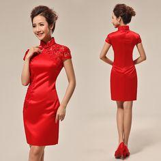 Red silk satin embroidery mini modern qipao short beaded Chinese cheongsam bridal wedding dress   Modern Qipao