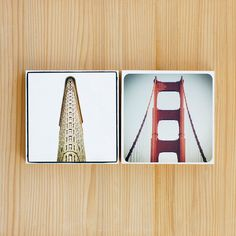 Golden Gate Bridge: Wall art, Wooden photo block , San Francisco Photography,  5 x 5 x 3/4 thick.. $50.00, via Etsy.