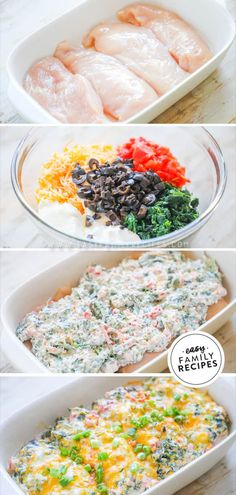 Mexican Spinach Chicken Bake ideas with chicken Easy Baked Chicken, Yummy Chicken Recipes, Mexican Food Recipes, Dinner Recipes, Dinner Ideas, Lchf, Keto, Casserole Dishes, Casserole Recipes