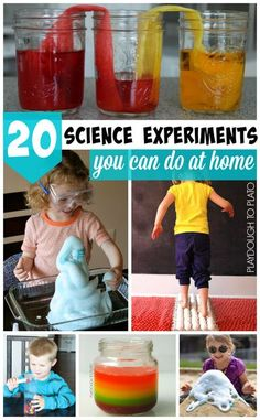 There are so many awesome kids' science experiments you can do at home! From learning about how clouds rain to making sun-dried raisins, this list of 20 favorite science activities promises to be fun for kids AND grown ups. No science labs needed! These easy to do science activities are perfect for preschool, kindergarten, and first grade kids! They're perfect for family activities or for homeschool science! #scienceexperimentsforkids #kidsscience