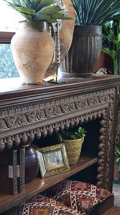Sideboard bookshelf made out of old carved beam from India Tierra Del Lagarto - Scottsdale Furniture Store | NEW ARRIVALS