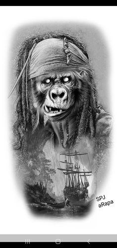 Tattoo Sleeve Designs, Sleeve Tattoos, Jack Sparrow, Lee Jeffries, Tattoo Sketches, Geisha, Boats, Legends, Black And Grey