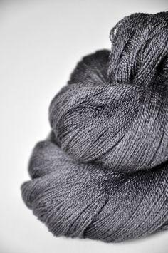 Charcoal OOAK  Merino/Silk/Cashmere Yarn Fine Lace by Dyeforwool