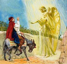 Balaam and the donkey confronted by the angel of God (Numbers 22:21-39)