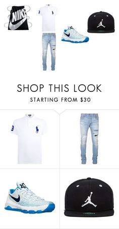 """Boy outfit"" by jtbae ❤ liked on Polyvore featuring Polo Ralph Lauren, Balmain, NIKE, Jordan Brand, men's fashion and menswear"