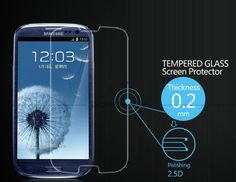 Rounded Premium Tempered Glass Screen Protector for Samsung Galaxy SIII Toughened protective film Samsung Galaxy S3, Galaxy Phone, Tempered Glass Screen Protector, Packaging, Film, Retail, Movie, Film Stock, Cinema