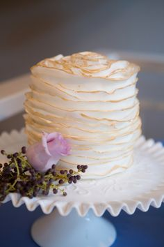 Stunning ruffled wedding cake! Photo by Sarah Roshan, see more: http://theeverylastdetail.com/dazzling-blue-wedding-ideas/