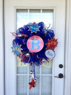 Super Hero Deco Mesh Wreath