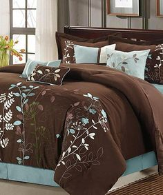 Take a look at this Brown Bliss Garden Comforter Set by Chic Home Design on #zulily today!
