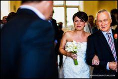 A tearful Zoe as she walks down the aisle at the wonderful Notley Abbey -