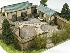 It's an onsen (spa) for the sengoku period. Asian Architecture, Sustainable Architecture, Pavilion Architecture, Residential Architecture, Contemporary Architecture, Courtyard House Plans, Barn House Plans, Home Room Design, House Design