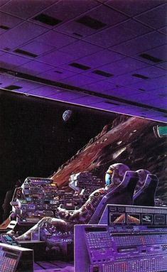painting by Tim White for the book 'The Moon Is A Harsh Mistress' by Robert A. Heinlein, 1977