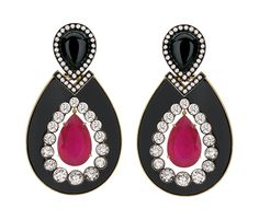 Silvia Furmanovich earrings in 18ct gold, with diamonds, ruby and onyx .