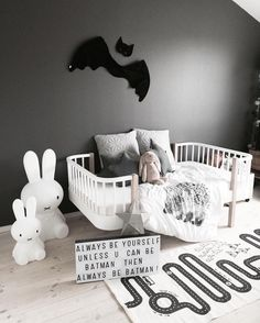 A beautiful monochrome kid's room. Miffy lamps, The Adventure Rug and Light Box are all available online. Image: @made.by.me