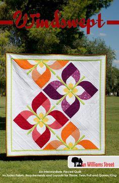 Windswept - Modern Drunkards Path Flower PDF Quilt Pattern - Windswept is a modern quilt pattern using various sizes of drunkards path blocks to create large flowers flowing across the quilt. Modern Quilting Designs, Modern Quilt Patterns, Quilt Block Patterns, Pattern Blocks, Japanese Quilt Patterns, Applique Quilts, Patchwork Quilting, Crazy Quilting, Drunkards Path Quilt
