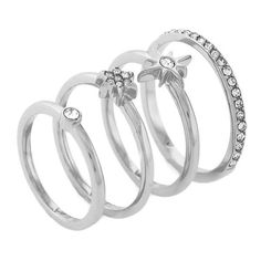 Vince Camuto Silver Silver-Tone Moon And Star Stack Ring Set ($9.99) ❤ liked on Polyvore featuring jewelry, rings, accessories, silver, silver star jewelry, clear crystal jewelry, silver rings, stackable rings and star jewelry