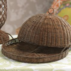 Woven Tray with Cloche - Default Title - CARLYLE AVENUE - 2