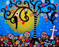 day+of+the+dead | Day Of The Dead Painting by Pristine Cartera Turkus - Day Of The Dead ...
