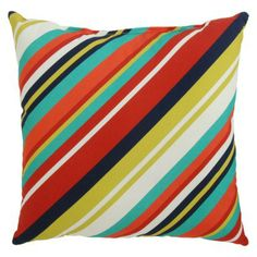 TH Pillow Diagonal Multi Stripe -- for patio? Rooftop Patio, Perfect Pillow, Patio Chairs, My Room, Deck, Backyard, Throw Pillows, House Styles, Garden Ideas