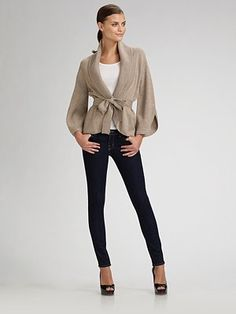 Belted sweater with skinny leg jeans