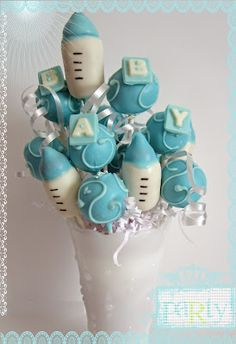 Blue baby bottle cakepops