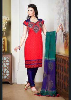 Chic Coral Salwar Kameez . Shop at -  www.gravity-fashion.com/11580-chic-coral-salwar-kameez.html