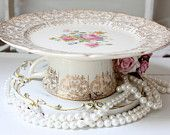 Cupcake Stand and Serving Pedestal Small Cake Plate Vintage Austrian China and Tea Cup. $8.00, via Etsy.