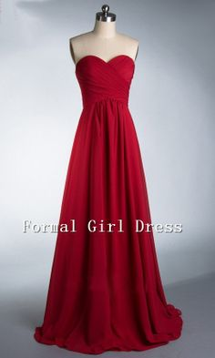 Strapless Sweetheart Red Empire Train Long by FORMALGIRLDRESS, $98.00