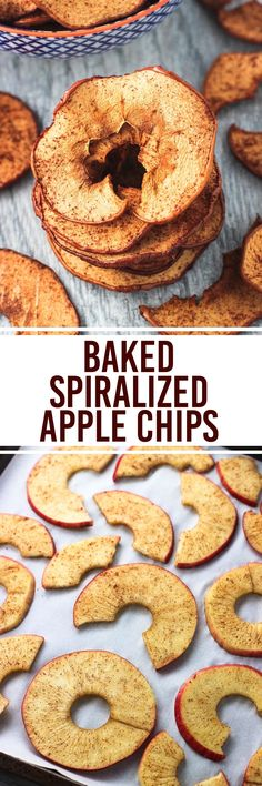 Spiralized apple chips are super easy, crisp, and baked! A spiralizer makes slicing the apples a breeze and ensures they& of a consistent thinness. A simple shake of cinnamon and sugar are all you need to flavor this snack favorite! Fruit Recipes, Apple Recipes, Snack Recipes, Dessert Recipes, Cooking Recipes, Jalapeno Recipes, Zoodle Recipes, Spiralizer Recipes, Vegetarian Recipes