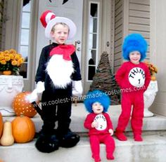 Homemade Thing 1 and Thing 2 with The Cat In The Hat Costumes: Our four year old was going to be The Cat In The Hat for Halloween and very much wanted his two brothers (ages two and 8 months) to be Thing 1 & Thing Fete Halloween, Halloween Costumes For Teens, Cute Costumes, Family Halloween Costumes, Holidays Halloween, Halloween Kids, Halloween Crafts, Costume Ideas, Halloween 2017