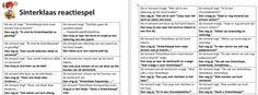 Sinterklaas reactiespel Bullet Journal, School, Winter, Schools