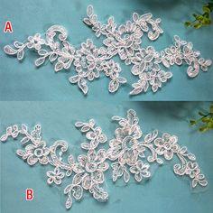 1 Pair Bridal Lace Applique Trim Appliques in White for