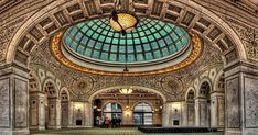 The Chicago Cultural Center - Preston Bradley Hall. This is the largest stained-glass domed ceiling in the world by Tiffany. When I was growing up this was the central public library of Chicago. Chicago Vacation, Chicago Travel, Chicago Trip, Chicago Photos, Chicago City, Places To Travel, Places To See, Travel Destinations, Chicago Things To Do