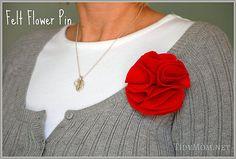 How to make a felt rosette flower pin tutorial at TidyMom.net